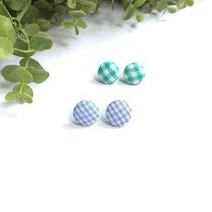 Gingham button earrings • blue & green
